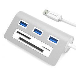 Sabrent 3-Port USB 3.0 Hub with Multi-In-1 Card Reader